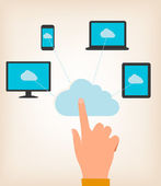 Flat design concept of cloud computing concept with hand and com — 图库矢量图片