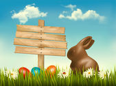 Chocolate bunny with easter eggs and a sign in a field. Vector. — Stock Vector