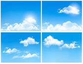 Collection of backgrounds with blue sky and clouds. Vector backg — Stock Vector