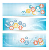 Three medical banners with icons. Vector.  — Stock Vector