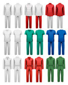 Set of overalls with worker. Design template. Vector illustratio — Stockvector