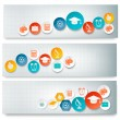 Set of education banners with icons. Vector — Stock Vector