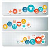 Set of education banners with icons. Vector  — 图库矢量图片