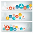 Set of business banners with colorful icons. Vector — Stock Vector