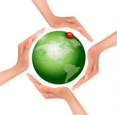 Hands holding a green earth with a ladybug. Vector.  — Vector de stock