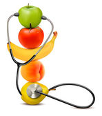Fruit with a stethoscope. Healthy diet concept. Vector.  — Wektor stockowy
