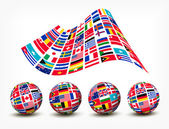 Flags of the world countries. Four globes. Vector. — Stock Vector