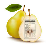 Pear with nutrition facts label. Concept of healthy food. Vector — Stock Vector