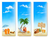 Three summer vacation banners. Vector.  — Stock Vector