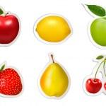 Set of flat fruit stickers. Vector. — Stock Vector #45192721