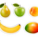 Set of flat fruit stickers. Vector. — Stock Vector #45192749