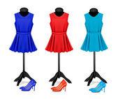 时尚精品背景与色彩斑斓的裙子和鞋。血管内皮细胞 — 图库矢量图片