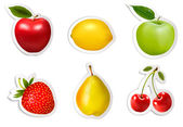 Set of flat fruit stickers. Vector. — Stock Vector