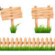 Two wooden signs and a fence with grass. Vector. — Stock Vector