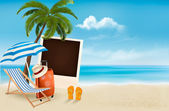 Beach with a palm tree, a photograph and a beach chair.  — Stock Vector