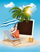 Beach with a palm tree, a photograph and a beach chair. Summer v — Stock Vector