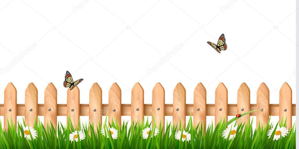 잔디, 꽃과 나비가 나무 울타리와 배경 — 스톡 벡터 © almoond #45612823