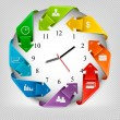 Infographics origami clock with icons. Vector illustration — Stock Vector #46005579