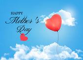 Mother day background. Holiday heart-shaped balloon in a blue sk — ストックベクタ