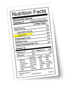 Nutrition facts label. Fat highlighted. Vector.  — Stock Vector