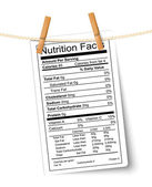 Nutrition facts label hanging on a rope. Vector. — Stock Vector