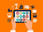 Hands touching a tablet with vacation and travel icons. Vector. — Stock Vector