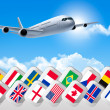 Airplane travel background with flags of different countries. Ve — Stock Vector #46722431