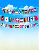 Welt bunting flaggen am blauen himmel. vektor-illustration — Stockvektor