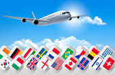 Airplane travel background with flags of different countries. Ve — Stock Vector