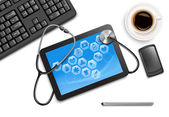 Tablet screen with medical icons and stethoscope on the table at — Stock Vector