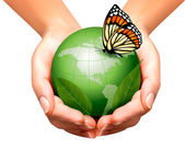 Green world with leaf and butterfly in woman hands. Vector illus — Stockvector
