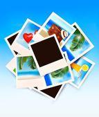 Viaggio sfondo con le foto delle vacanze. vector. — Vettoriale Stock