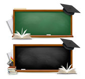 Two banners of chalkboards with school supplies and graduation c — 图库矢量图片