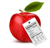 An apple with a nutrition facts label. Vector — Stock Vector