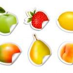 Set of flat fruit stickers. Vector. — Stock Vector #48649669
