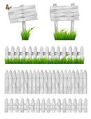 Set of white wooden signs and a fences with grass. Vector  — Stock Vector