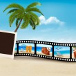 Vacation film tape on a beach. Vector. — Stock Vector #49383847
