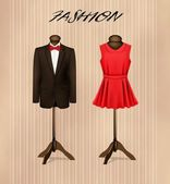 A suit and a retro formal dress on mannequins. Vector.  — Stock Vector