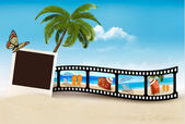Vacation film tape on a beach. Vector.  — Stock Vector