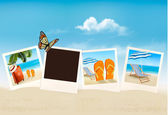 Vacation photos on a beach. Vector.  — Stock Vector
