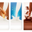 Set of milk, honey and chocolate banners. Vector. — Stock Vector #50378813