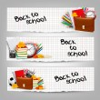 Back to school. Three banners with school supplies and autumn le — Stock Vector #50378845