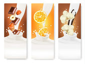 Set of banners with hazelnuts, chocolate, oranges and vanilla fa — Stock Vector