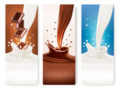 Set of banners with chocolate and milk splashes. Vector. — Stock Vector