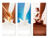 Set of milk, honey and chocolate banners. Vector.  — Stock Vector
