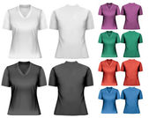 Female t-shirts. Design template. Vector.  — Vector de stock