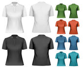 Female polo shirts. Design template. Vector.  — Vecteur