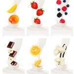 Colorful fresh fruits falling into the milky splash. Vector illu — Stock Vector #50909239