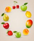 Set of healthy food fruit. Vector. — Stock Vector