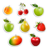 Set of flat fruit stickers with paper clips. Vector.  — Stock Vector